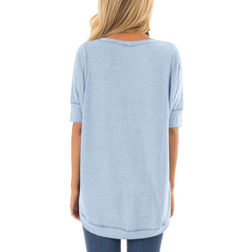 Shirt for Womens,Fashion Short//Long Sleeve T-Shirt O-Neck Solid Stitched Detail Blouses Casual Summer Tees Tops