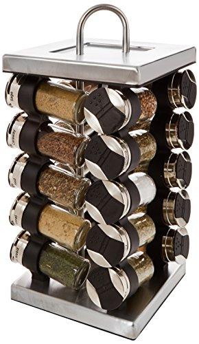 Olde Thompson 20-Jar Stainless-Steel Square Spice Rack (Olde Thompson Spice Jars)