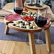 LEFUYAN Mesa de piquenique dobrável de madeira 2 em 1 com suporte de taça de vinho, bandeja de suporte para la