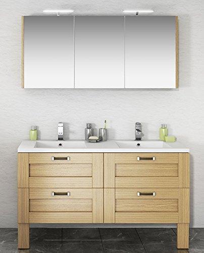 Conjunto de baño Cosy _ 140 con mueble sobre patas de 4 cajones. double-vasque