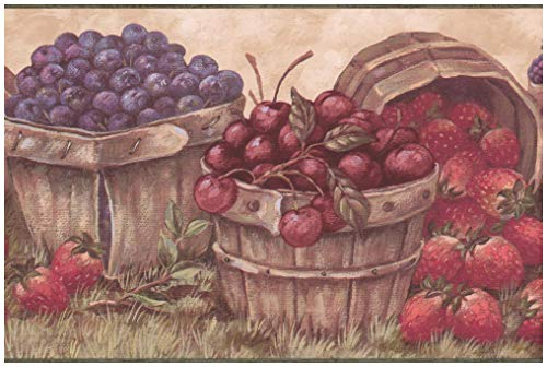 Prepasted Wallpaper Border - Berries in Baskets Cherry Strawberry Blueberry Raspberry Beige Wall Border Retro Design, Roll 15 ft. x 7 in. ()