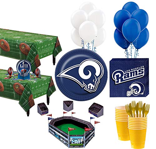 Party City Super Los Angeles Rams Super Bowl Party Kit for 36 Guests, Football Party Supplies, Paper, Plastic