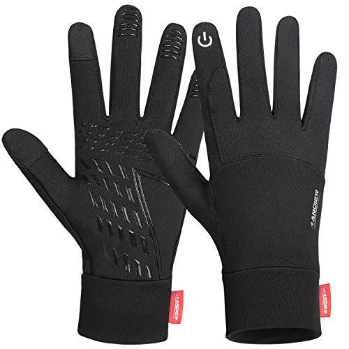 Handschuhe Herren Damen, Herbst Winter Dünne Sporthandschuhe Outdoor Laufhandschuhe Touchscreen Handschuhe, T05 Warm rutschfest Full Finger Gloves für Fahren Radfahren Wandern (Kohlenschwarz, XL)