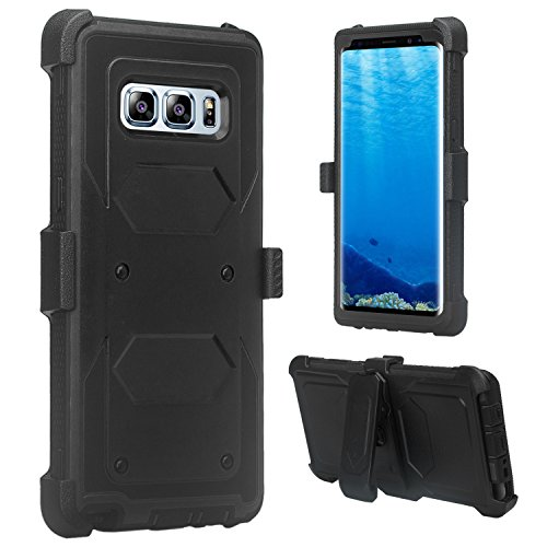 Galaxy Note 8 Case, Samsung Note 8 [Shock Proof] Heavy Duty Belt Clip Holster [Incl. Full Screen Temper Glass] Full Body Coverage Rugged Protection for Galaxy Note 8 –