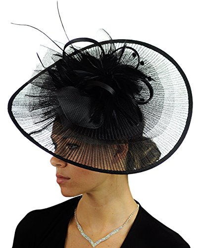 C.C Cocktail Fashion Sinamay Fascinator Hat Feather & Flower Design S102450, (Womens Fashion Derby)