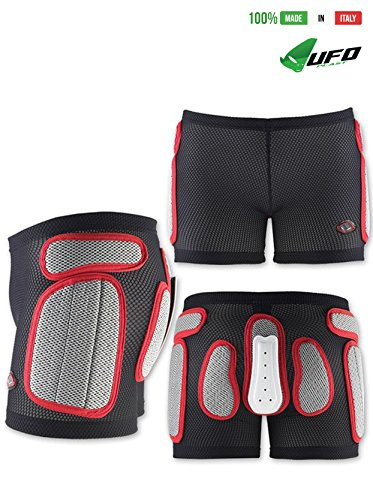 UFO PLAST Made in Italy SK09125 Soft Padded Shorts for Kids / Removable Back Protection / Airnet Material / For: Snowboard, Skateboard, Ski, Skating / Size: M / Color: White with Red by UFO Plast