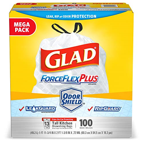 - Glad ForceFlexPlus Tall Kitchen Drawstring Trash Bags -13 Gallon White Trash Bag, OdorShield -100 Count (Packaging May Vary)