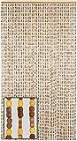 BeadedString Natural Wood and Bamboo Beaded Curtain-45 Strands-77 High-Plain Design-Bamboo and Wooden Doorway Beads-Boho Bohemian Curtain-35.5'' W x 77'' H-SunshineBr