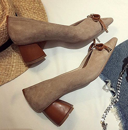 Suede Shoes Shoes Shallow 6Cm MDRW All Leisure Match 35 Coarse Heeled Sweet Work A Mouth Khaki Bow Spring Elegant With Lady High waXTzaY