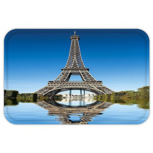 VROSELV Custom Door MatPariWall Decor Eiffel Tower Reflected on Water Picture and BusheRiver City Reflection Effect AccessorieBlue Green and - Photo Effect Reflection