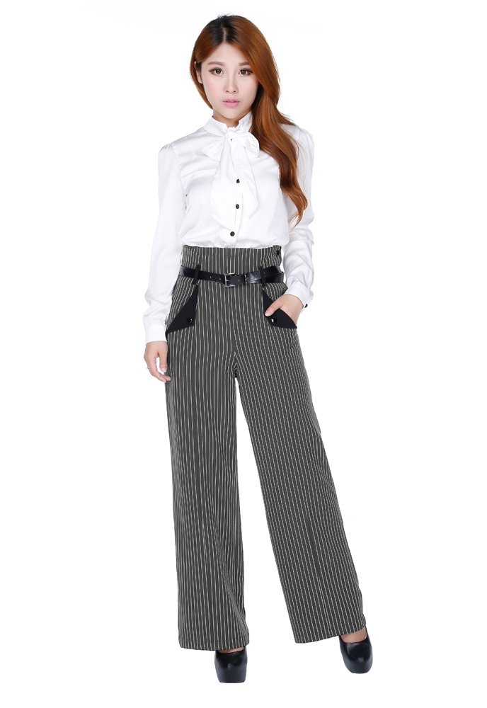 Chic Star 50's Vintage Style High-Waisted Side Buttons Pinstriped Wide Leg Pants (8 (EU40), Gray)