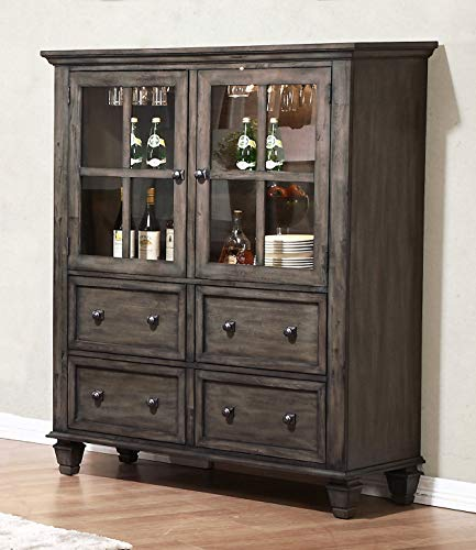 Sunset Trading DLU-EL-DS Shades of Gray China Cabinet, Weathered Grey Cabinet Oak Veneer Buffet China