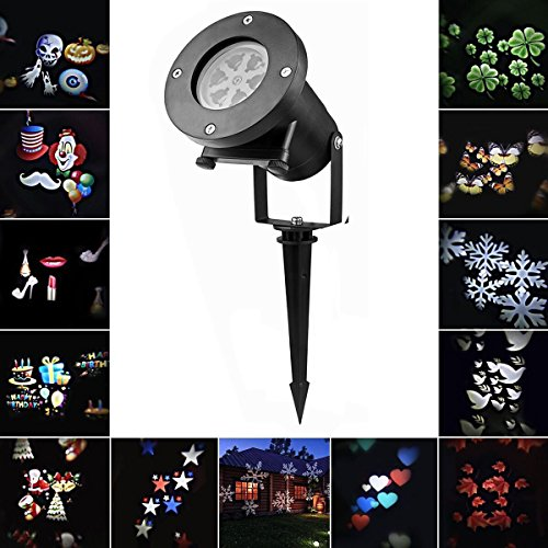 Laser Light Sunsbell Snowflake Led Landscape Spotlight - 12 Slides Sparkling Laser Light Show Rotating Outdoor Projection Lights