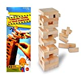 Wooden Tumbling Towers, Classic Building Blocks Games with 42 Pieces, Toppling Tower Wooden Blocks and Jumbling Tower Game for Kids & Adults for Party & Family Games