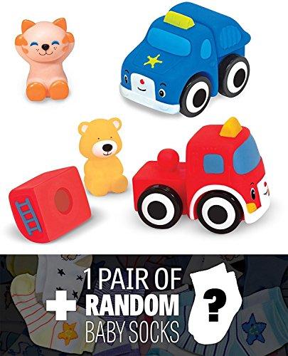 - Pop Blocs Vehicles: K's Kids Baby Toy Series + 1 FREE Pair of Baby Socks Bundle [91978]