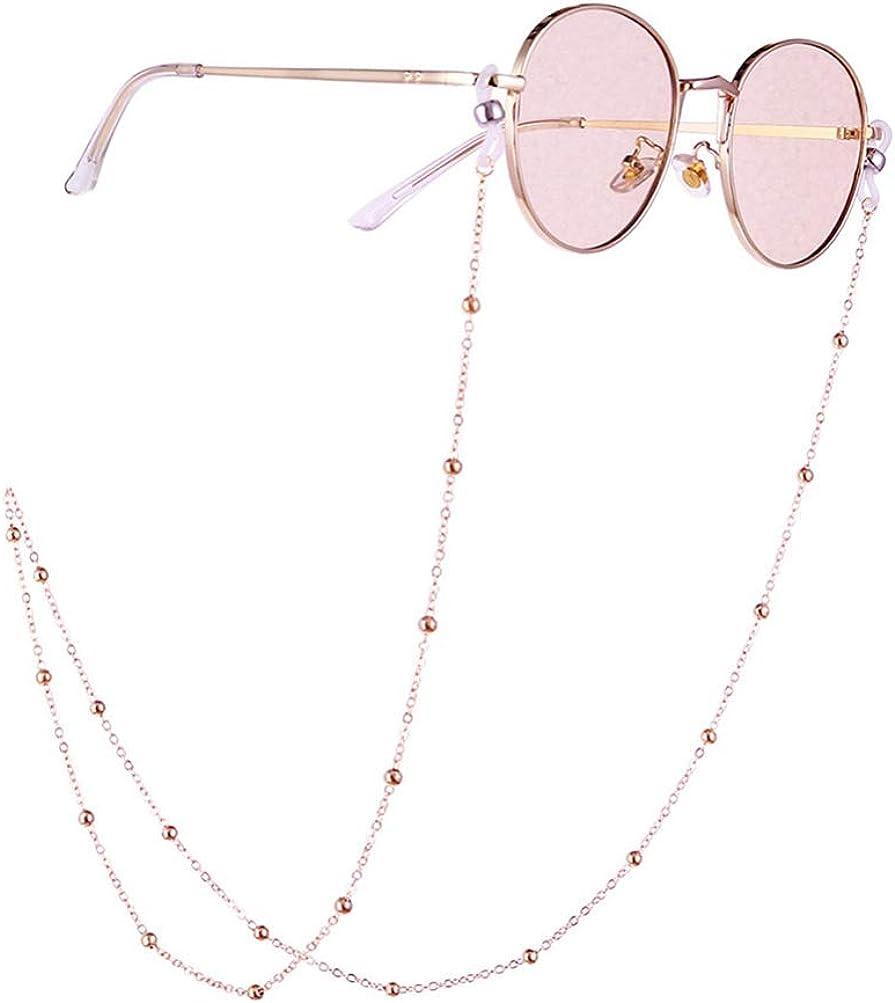 Mimimelon Kristall Brillenkette Titan Stahl Brillenband Sonnenbrille Lanyard Halskette