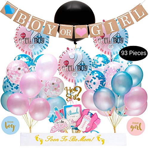 Baby Gender Reveal Party Supplies Kit - 93 Piece Baby Shower Decorations With Big Black Balloon, Cake Topper, Blue Pink Balloons, Confetti, Photo Booth Props, Boy Or Girl Banner, Gender Reveal Stickers, Baby Party Decor and Favors -