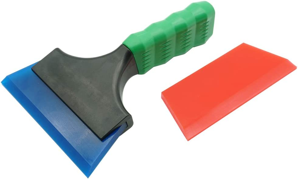 Red /& Blue HelPer 7 Inch Rubber Silicone Squeegee Small Mini Water Blade Squeegee Scraper Glass Cleaner Sink Glass Shower Window Auto Car Mirror with Non-Silping Rubber Lever