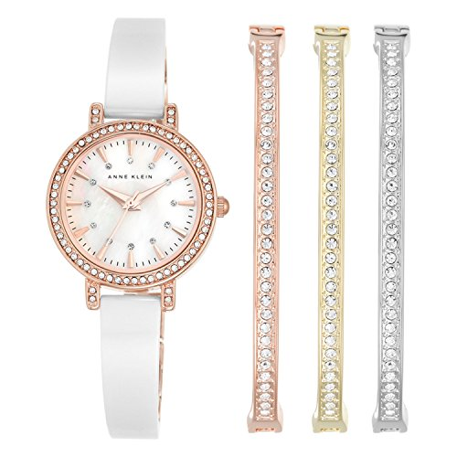 Anne Klein Women's AK/2180WTST Swarovski Crystal Accented Rose Gold-Tone and White Ceramic Bangle Watch and Bracelet Set