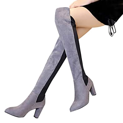 ead00b3093d BANAA Women Over The Knee Boots Stretch Faux Slim High Boots - High Heels  Shoes -