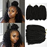 6 piece Flyteng 8 inch Marlybob Kinky Curl crochet hair extensions black color crochet braids Marlybob crochet hair Curly weave hair synthetic Braiding hair
