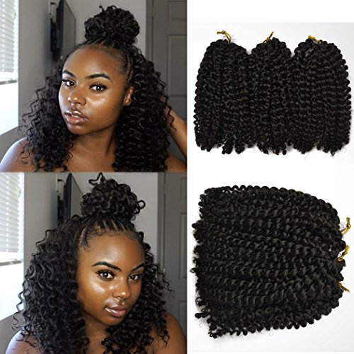 Price comparison product image 8 inch Marlybob Kinky Curl crochet hair extensions black color 6 packs/lot Curly weave hair