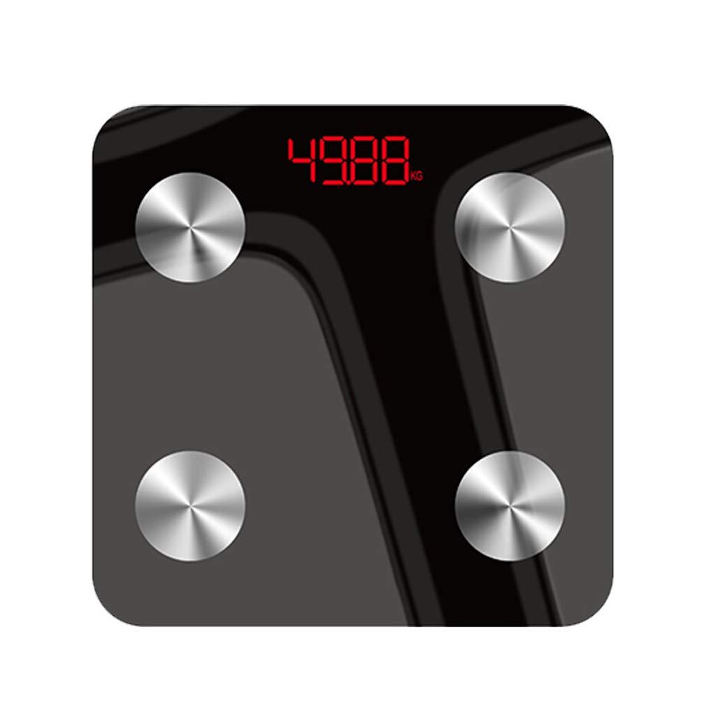 体重計 スマート電子浴室スケール家アダルト脂肪測定重量スケール隠し画面表示多機能Bluetoothリンク黒28×28cm B07K15GCCG