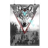 Wolf Head In Forest Wildlife Matte/Glossy Poster A2 (60cm x 42cm) | Wellcoda