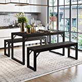 Amolife 3-Piece Dining Room Table Set, Metal Frame and MDF Board Dining Table with Bench, Kitchen Contemporary Home Furniture