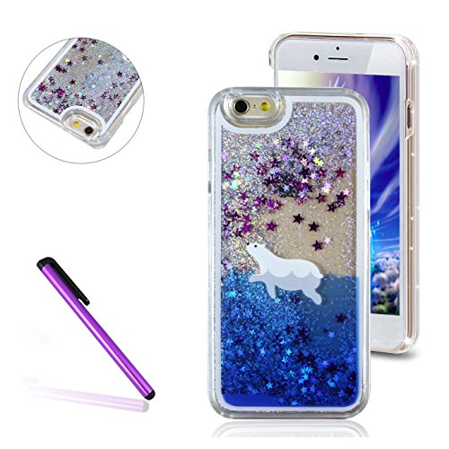 4S Glitter Cover,LEECO 3D Quicksand Bling Shinny Flowing Liquid Shockproof Transparent Clear Hard Protective Case for Apple iPhone 4 / 4S,Silver Liquid-Polar Bear ()