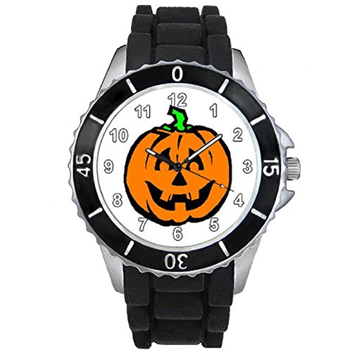 Halloween Pumpkin Unisex Black Jelly Silicone Wrist Watch
