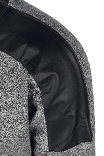 Urban Classics Ladies Melange Leather Imitation Shoulder Crew Manga larga Mujer negro/gris negro/gris