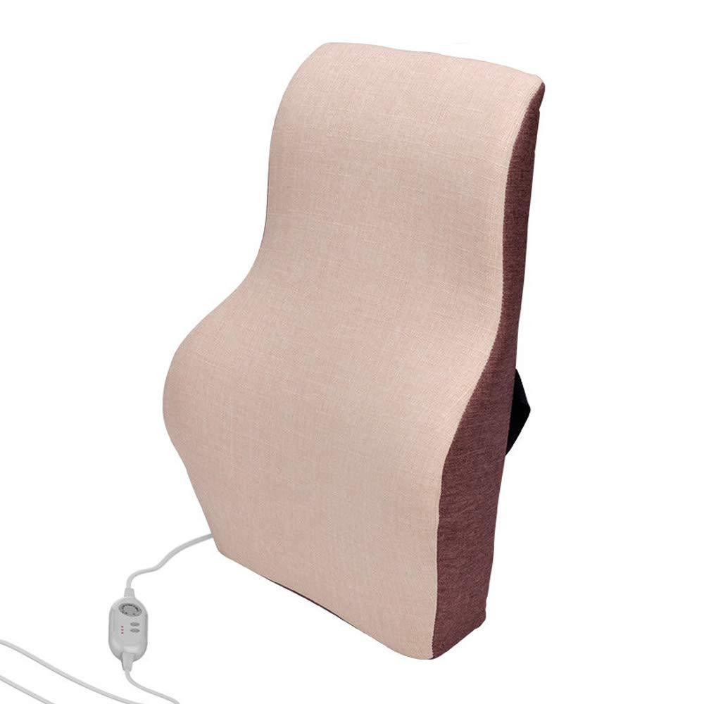 マッサージ腰椎サポートパッド、暖房、クリエイティブオフィス用ウエスト枕スポンジランバーシート(ベージュ) B07QMVQ3F1