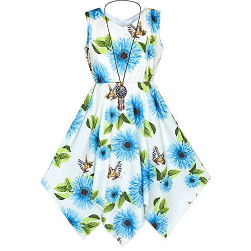 Sunny Fashion Girls Dress Blue Flower Hanky Hem with Necklace Size 7