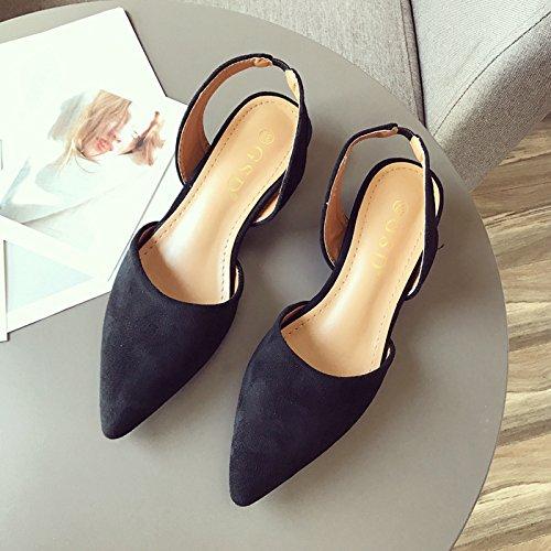 GTVERNH Zapatillas de Verano para Mujer, Tacón bajo, Tacón Grueso y Puntiagudo, Zapatos Individuales. negro