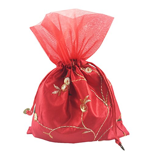 SumDirect 5Pcs 6X9 inches Brocade Organza Jewelry Pouch Bags,Drawstring Gift Bags (Red) ()