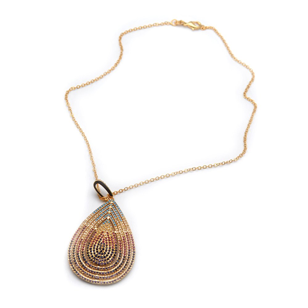 Buty-Bzi Multi color CZ Beads Paved Metal Copper Pear Shape Pendant Linked Chains Necklace