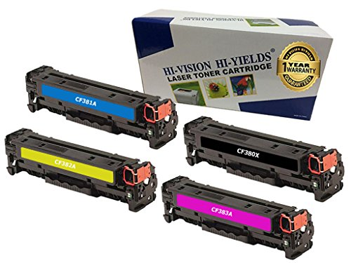 HI-VISION HI-YIELDS Compatible Toner Cartridge Replacement for HP CF380X ( Black,Cyan,Magenta,Yellow , 4-Pack )