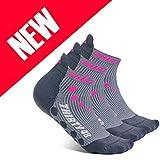 Thirty 48 Compression Low-Cut Running Socks Men Women (XLarge - Women 11-13 // Men 12-14, [3 Pairs] Pink/Gray)