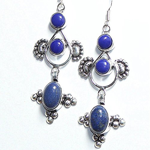 - Blue Agate, Lapis Lazuli Earring Silver Overlay Fashion Jewellery Vintage Designer Statement Prom Bridal Jewelry Dangle / Bohemian 3 Inches.