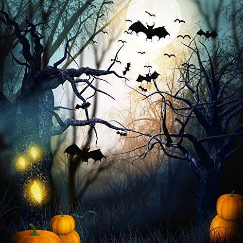Yeele 7x7ft Halloween Backdrop for Photography Ghastly Wilderness Forest Tree Monster Pumpink Flying Bats Horror Night Photo Background Trick Or Treat Boy Girl Adult Portrait Shoot Studio Props ()
