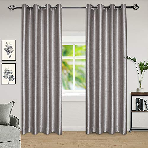 - Tinfun Thermal Insulated Blackout Room Darkening Window Curtains,Line Carved Grommet Drapes for Living Room(2 Panels),W52×L84 Inch (Grey)