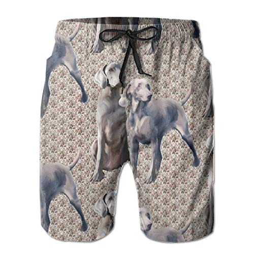 Dog Weimaraners Men's Shorts Casual Classic Fit Drawstring Summer Beach Shorts with Elastic Waist and Pockets]()