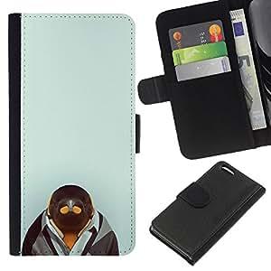 YiPhone /// Tirón de la caja Cartera de cuero con ranuras para tarjetas - Pingüino en Hipster Traje - Apple Iphone 5C