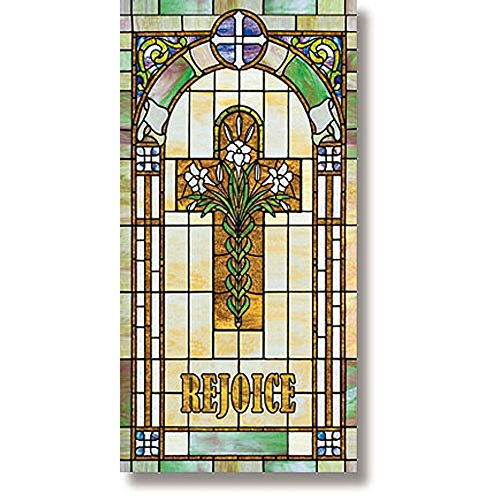 Stained Glass Rejoice Cross with Lilies Banner, 2-1/2 x 5' H