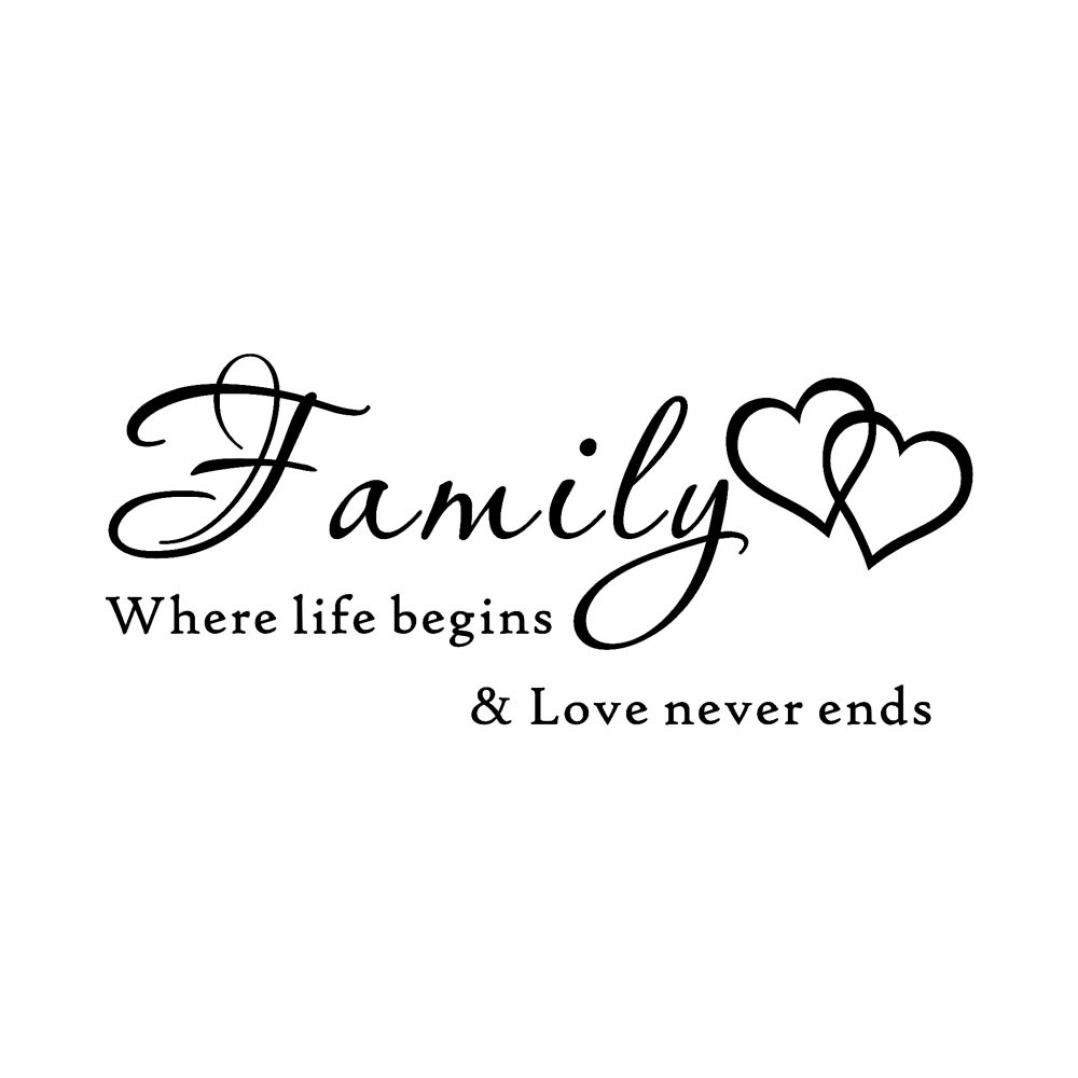 SMILEQ Quote Wall Stickers Removable Art Vinyl Mural Home DIY Decal Family Where Life Beging Love Never Ends Room Decor A