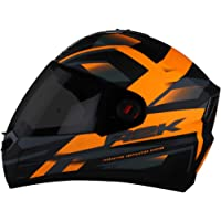 Steelbird SBA-1 R2K Full Face Graphics Helmet in Matt Finish with Smoke Visor (Medium 580 MM, Matt Black with Orange)