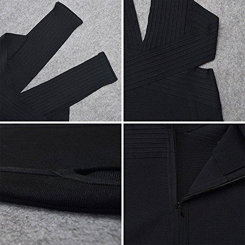 Dress Bodycon Out Women's Cut Bandage Schwarz Sleeveless Deep Polyester HLBandage Neck V wAqx7vZWg6