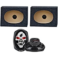 2) Boss SK693 6x9 600W 3-Way Car Speakers + 2) QTW6X9 Angled 6x9 Speaker Box