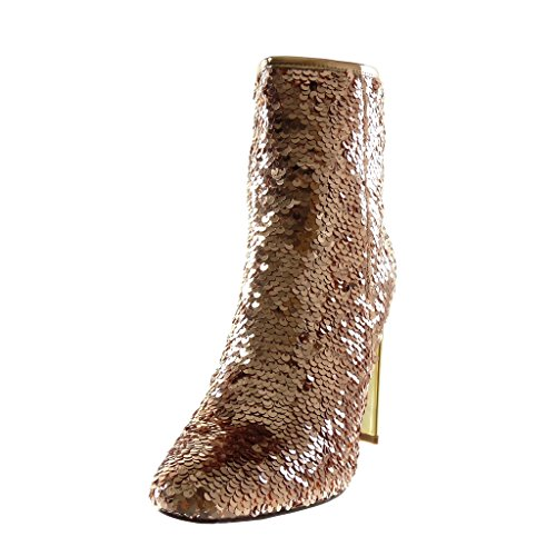 Disco Angkorly Golden Heel Shoes Pink Fashion Shiny High Sequin Booty Women's Ankle cm 10 Block Boots 5 Y7Ywrzq